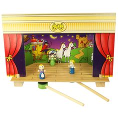 "Magnetic puppet theater: ""Let the drama begin in the magnetized version of ""The Three Little Pigs"". The beautifully designed stage is especially adapted so characters can move around, seemingly of their own accord."""