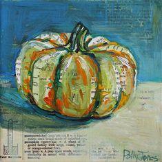 Pumpkin original mixed media painting by Polly Jones