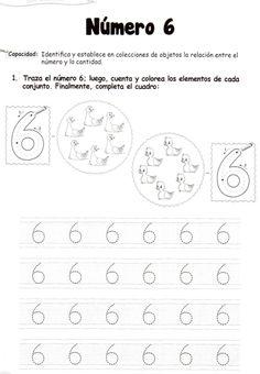 El número 6: 5 años Preschool Worksheets, Preschool Activities, Home Schooling, Math Lessons, Pre School, Writing A Book, Homeschool, Classroom, Teaching
