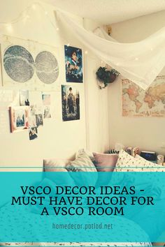 VSCO Decor Ideas: the best decor ideas to create a fun & cute Vsco room. Transfor your room into a Vsco room with photo collage, posters and lights!