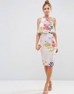 Shop ASOS PETITE Double Ruffle Floral Crop Top Midi Pencil Dress at ASOS. Day Dresses, Casual Dresses, Short Dresses, Summer Dresses, Floral Dresses, Pretty Dresses, Beautiful Dresses, Modest Fashion, Fashion Dresses