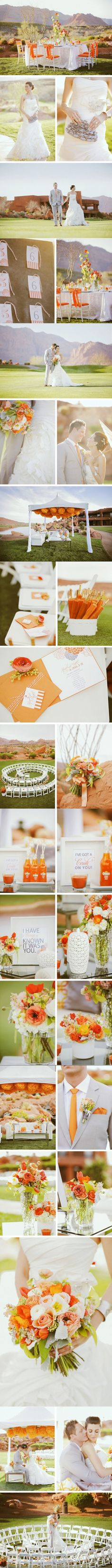 orange outdoor wedding