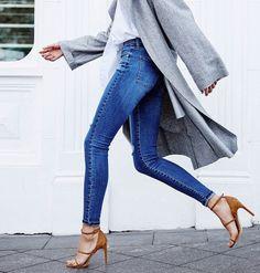 denim + suede heels
