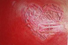 14 september 2014. Vanmorgen werkte ik aan de laatste details van schilderij Gescheurd hart. Ik moet er nog een nachtje over slapen maar ik geloof dat ik nu tevreden ben over het resultaat. Jeuh!