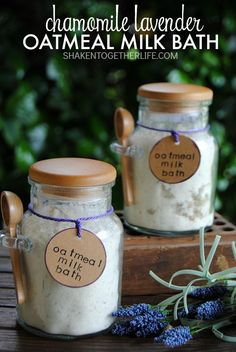 Chamomile Lavender Oatmeal Milk Bath - pampering, soothing and deliciously scented.  Perfect for gifts!