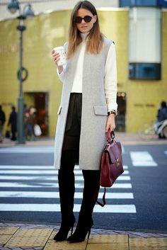 NYAM's Style: FROM THE STREET STYLE AND CATWALKS, TO US : LONG GILET OBSESSION!!