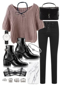 """Untitled #20102"" by florencia95 ❤ liked on Polyvore featuring rag & bone, Yves Saint Laurent, Michael Kors, Maison Close, Forever 21 and Daniel Wellington"