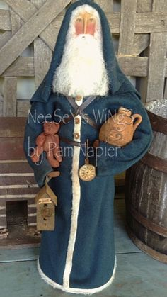 All my ability from God...NeeSeY's WiNgS by Pam Napier ❤️. Primitive Santa with a soft white beard, cinnamon dusted bear, miniature crock and a miniature lantern to light his path
