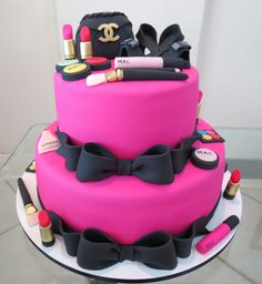 Order Makeup birthday cake online for girls in unique designs and get the same day free home delivery in Gurgaon, Noida & Ghaziabad. Makeup Birthday Cakes, 14th Birthday Cakes, Barbie Birthday, Birthday Cake Girls, 70th Birthday, Cake Recipe For Decorating, Spa Cake, 18th Cake, Bolo Minnie