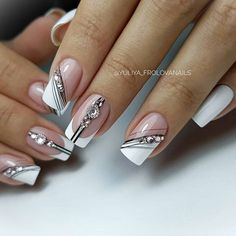 20 latest and hottest french nail art designs ideas 2019 14 - 20 latest and hottest french nail art designs ideas 2019 14 - Glitter Nail Art, Gel Nail Art, Gel Nails, Manicure, French Acrylic Nails, French Nail Art, Elegant Nails, Stylish Nails, New Nail Art Design