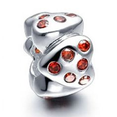 Red Superposition Heart Charm  pandora, chamilia, trollbeads, biagi style jewelry