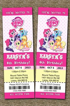 My Little Pony Ticket Invitations