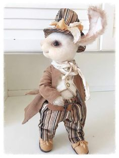 Dorian By Sadovskaya Tatiana - made of mohair. .front legs can bend. toned pastels. handmade clothing. waistcoat made of cotton. leather shoes.