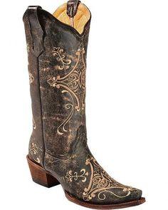 e46aa53fad Circle G Crackle Tan Embroidered Cowgirl  boots - Snip Toe Botas Vaqueras