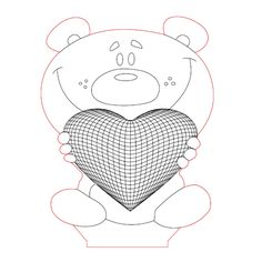 Funny bear with heart 3d illusion lamp plan vector file for CNC - 3bee-studio