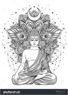 Sitting Buddha Statue over ornate mandala inspired pattern. Sitting Buddha Statue over ornate mandala inspired pattern. Inverno nadjainverno Malen Sitting Buddha Statue over ornate mandala […] tattoo indian Buddha Tattoo Design, Buddha Tattoos, Mandala Tattoo Design, Body Art Tattoos, Tattoo Designs, Sleeve Tattoos, Tattoo Ideas, Buddha Lotus Tattoo, Hand Tattoos