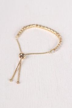Cubic Zirconia Pull Tie Bracelet