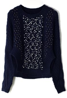 Beads Embellished Knitted Sweater in Navy - New Arrivals - Retro, Indie and Unique Fashion