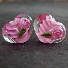 Lampwork beads 064 Hearts Pair 2 Pink  with Roses by beadgoodies, $10.00