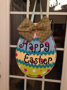 Easter Egg Wooden Door Hanger  on Etsy, $35.00