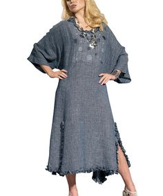 Blue Ruffle Edge Cape-Sleeve Dress - Women & Plus