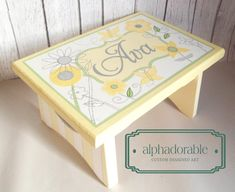 Artisan hand painted custom wooden step stool ~ Bright Blossom yellow grey green and white flower butterfly theme