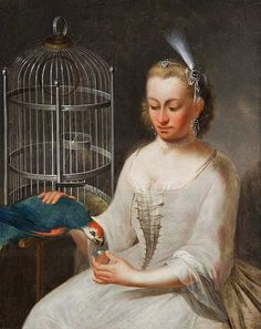 1700-1800s Johann Heinrich Tischbein the Younger (1742-1808) Woman with Parrot