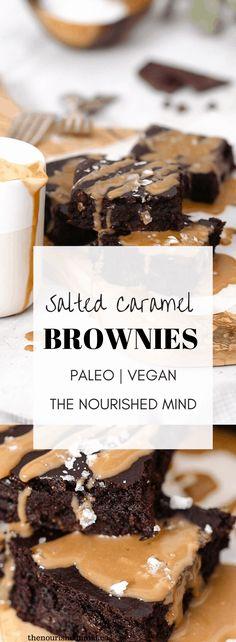 Salted Caramel Paleo Vegan Brownies | The Nourished Mind Healthy Ice Cream, Vegan Ice Cream, Gluten Free Treats, Paleo Treats, Vegan Brownie, Brownie Recipes, Paleo Dessert, Delicious Desserts, Paleo Vegan