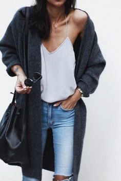 Jeans, summer t-shirt, cardigan, big bag