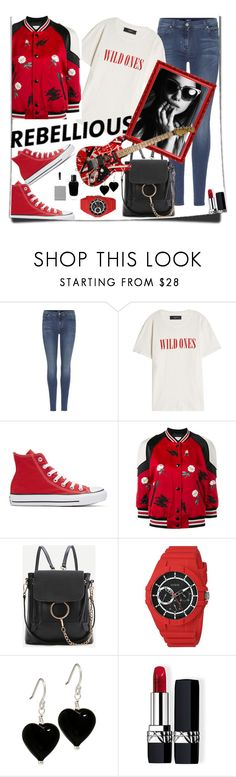 """""""Bring It"""" by ahapplet ❤ liked on Polyvore featuring 7 For All Mankind, AMIRI, Converse, Coach, WithChic, GUESS, Christian Dior, Givenchy, teeshirt and ahapplet"""