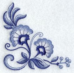 Dutch blue embroidered flower