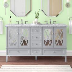 "Ivy Bronx Solihull 60"" Double Bathroom Vanity Set & Reviews | Wayfair Bathroom Vanity Sizes, Art Deco Bathroom, Ceramic Undermount Sink, Bathroom Faucets, Bathrooms, Mirror Backsplash, Soaking Bathtubs, Marble Countertops, Vanity Set"