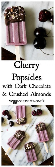 Cherry popsicles are a great way to use up the season's bounty. These frozen treats are creamy, flavourful and drizzled with dark chocolate and almonds.