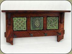 "Celtic, Craftsman, and pinecones!  Craftsman Key Rack w/ three - 3"" Tiles."