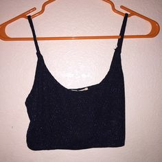 Sparkely sheer crop top Blue sparkles worn once Urban Outfitters Tops Crop Tops