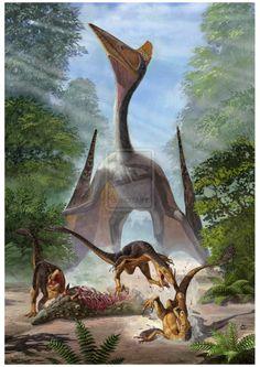 Por Sergey Krasovskiy: un azdárquido interrumpe una comilona a dinosaurios-como-pájaros