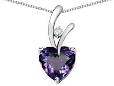 Star K Heart Shaped 8mm Simulated Alexandrite Pendant Necklace