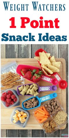 Watchers 1 point snack ideas and portion control ideas. Healthy snack ideas to stay on track with your diet.Weight Watchers 1 point snack ideas and portion control ideas. Healthy snack ideas to stay on track with your diet. Weight Watchers Snacks, Weight Watcher Dinners, Weight Watchers Tipps, Weight Watchers Meal Plans, Weigh Watchers, Weight Watchers Smart Points, Weight Loss Snacks, Healthy Weight Loss, Gourmet
