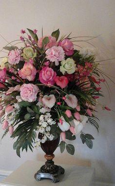 Tall Flower Arrangements, Silk Arrangements, Floral Centerpieces, Flower Vases, Large Flowers, Silk Flowers, Colorful Flowers, Hanging Orchid, Church Flowers
