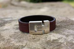 Bracelet en cuir pour homme création artisanale : Bijoux pour hommes par les-3-oranges-maroquinerie
