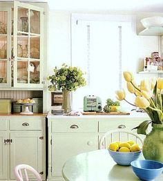 Country kitchen with jadeite and yellow accent. Love!