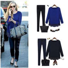6b8994ec141ce2 Details about NEW Fashion Women Shirt Long Sleeve Layering Tiered Knit  Chiffon Top Blouse Korean Women
