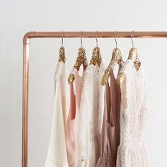 Gold Sequin Hanger + rose gold rack
