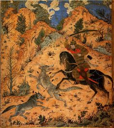 Isfandiyar fights with the Wolves - Jalayrid Mongol, late Century Turkish People, Ancient Persian, Centaur, 14th Century, Mythical Creatures, Landscape Paintings, Wolf, Museum, Pictures