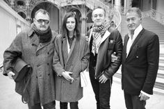 Michel Gaubert, Anna Mouglalis, Pascal Brault and Eric Pfrunder before Chanel Couture Spring/Summer 2014