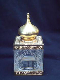 Vintage Amouage Cristal Perfume Bottle Gold Moorish Mosque RARE 1983 | eBay