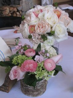 birch centerpiece with pink and green flowers via floralartvt.com