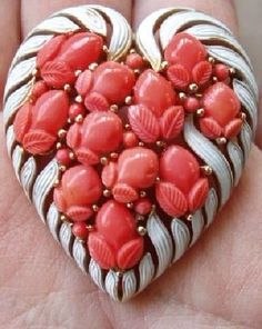 Crown Trifari faux coral glass fruits and white enamel heart brooch