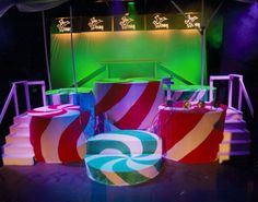 Here is my design work for my second show with Betty Huff, Willy Wonka Jr. Here is the final stage de… Charlie Chocolate Factory, Wonka Chocolate Factory, Candy Centerpieces, Quinceanera Centerpieces, Wedding Centerpieces, Music Themed Parties, Music Party, Willy Wonka Costume, Sweet 16 Decorations