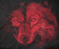 Red version of wolf :) Paulina Szczepaniak, 2015 Painting on fabric. Textile paint.  #red #wolf #painting #fabric